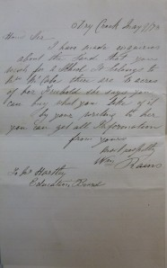 Letter from my 3 x great grandfather Wm. Rains written 1878.