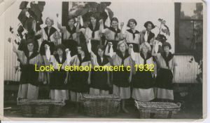 Lock 7 school girls as fisherwomen c 1932