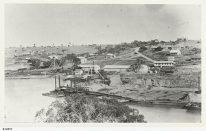 State Library of SA B-36187 Lock 1 cofferdam and Blanchetown in distance.