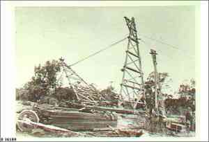 Flying fox towers under construction at Lock 1 c 1915.