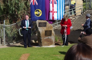 Minister for Water and the River Murray Ian Hunter MLC SA, and Helen Stagg author Harnessing the River Murray.