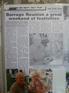 News article about the reunion with Charlie Adams and Sheila Trafford-Walker pictured.